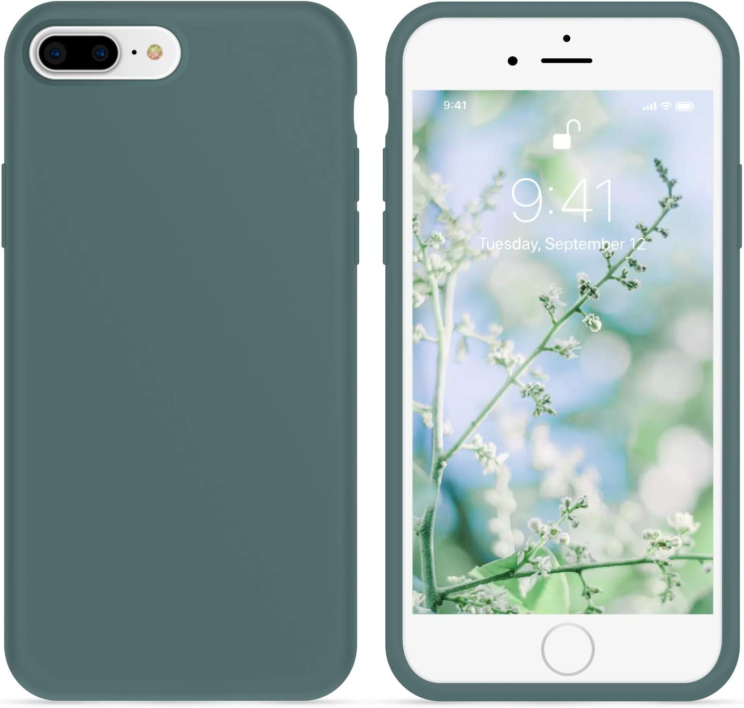 OTOFLY iPhone 8 Plus Case,iPhone 7 Plus Case, [Silky and Soft Touch Series] Premium Soft Silicone Rubber Full-Body Protective Bumper Case Compatible with iPhone 7/8 Plus (Pine Green)