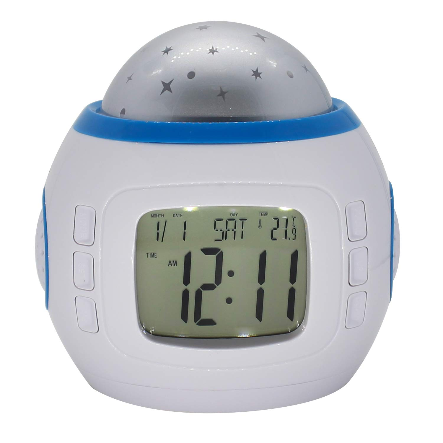 EURDIA Projection Alarm Clock Star Sky Music Home Travel Snooze Bedrooms with Electronic Digital Backlight 7 Colorful Bedside Clocks for Kids