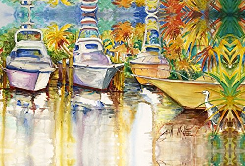 Caroline's Treasures JMK1051PLMT Blue Heron And Deep Sea Fishing Boats Fabric Placemat, Multicolor   B00W3WI0ZA
