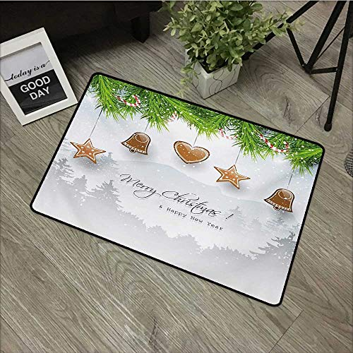 Clear printed pattern door mat W24 x L35 INCH Christmas,Gingerbread Cookies Hanging from Fir Branches Forest Silhouette,Pale Brown Green Pale Grey Our bottom is non-slip and will not let the baby slip