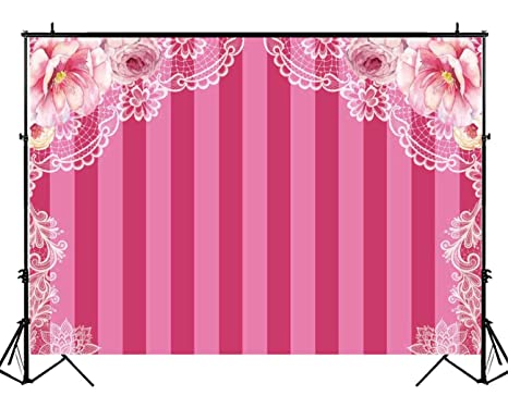 43ea5b5360 Funnytree 7x5ft Pink Stripes Floral Party Backdrop Baby Girl Flowers Bridal  Shower Lingerie Photography Background Sweet
