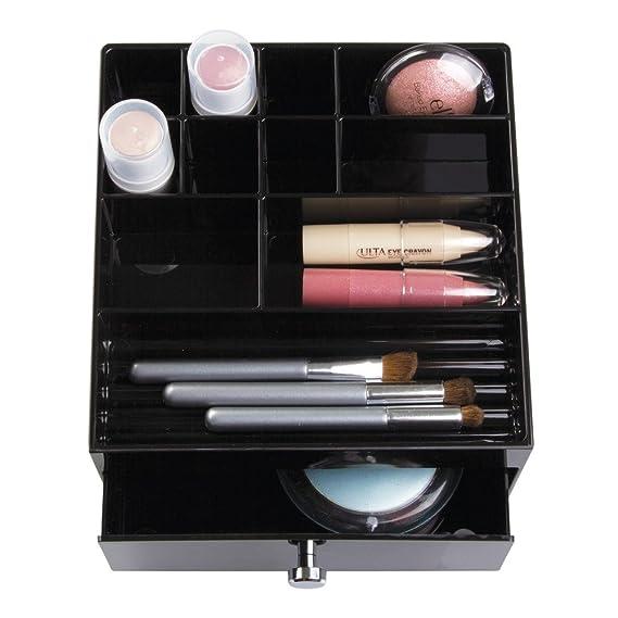 ... maquillaje | Joyero con 11 compartimentos y cajones | Ideal como organizador de collares, pulseras, anillos, etc. | Plástico negro: Home & Kitchen