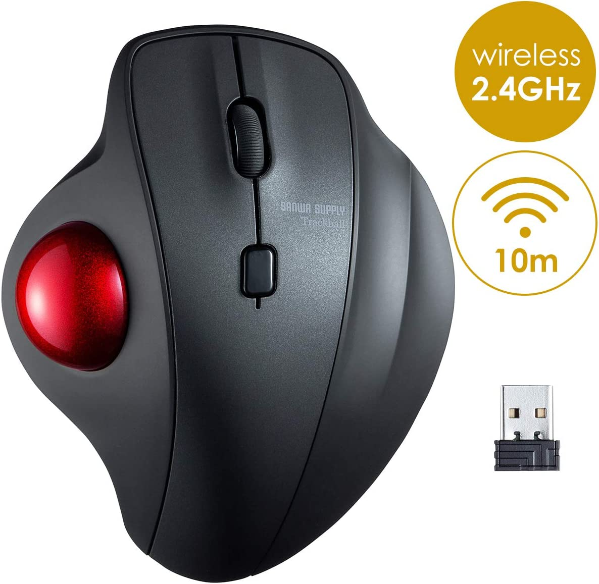 SANWA (Japan Brand) 2.4G Wireless Ergonomic Trackball Mouse, Silent Noiseless Optical Sensor Mice, (600/800/1200/1600 Adjustable DPI, 34mm trackball) Compatible with MacBook, Laptop, Windows, Mac OS