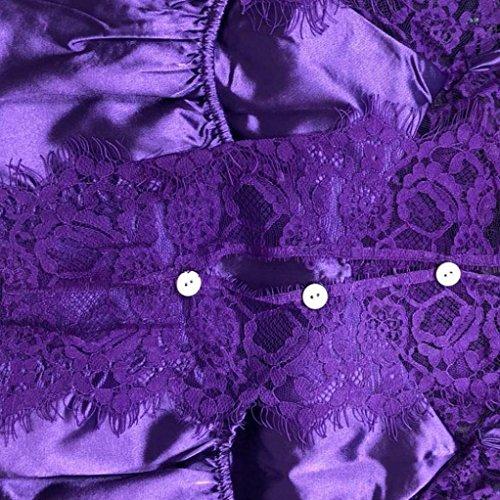 Femme Pyjama Tank Caraco Bas Débardeur Boutons Purple Bretelles Fines Blouse Courtes Top Angelof Veste Échancré Avec En Sangle Chemise w4qn0wIB