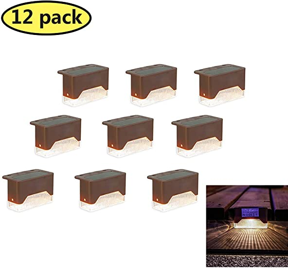 Solar Deck Lights Outdoor Waterproof LED Solar Step Lights for Stairs, Walkways, Patio, Fence – Auto On Off 12 Pack Warm Light