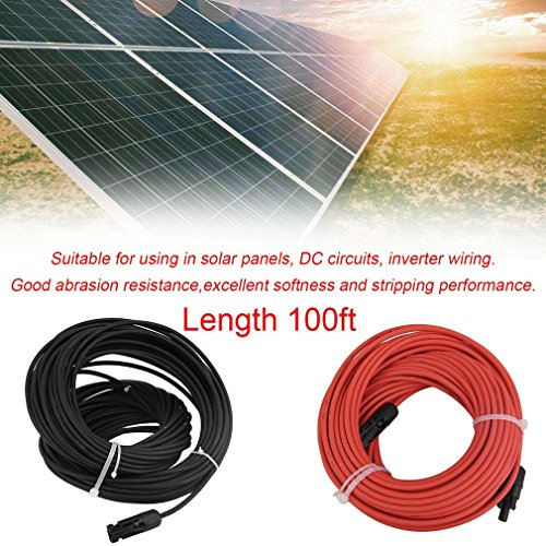ICOCO Solar Panel Cable 10 AWG 1 Pair 100 Feet Black + 100 Feet Red Solar Panel Extension PV Cable Wire MC4 Connector by ICOCO (Image #1)