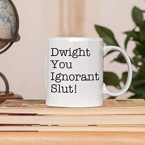 Lplpol White Mug Tea Cup Dwight You Ignorant Slut Mug Dwight Schrute The Office Mug Michael Scott Quotes Unique Festival Birthday Present 11 Ounce