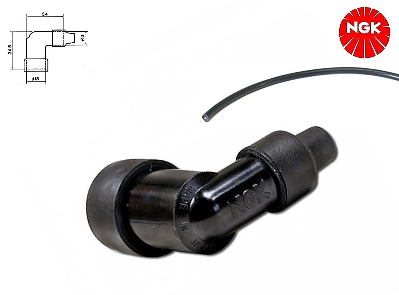 NGK Kerzenstecker + Zündkabel - 90° Winkel - LZFH - für Motorrad Moped Roller Mofa (4-003) N G K