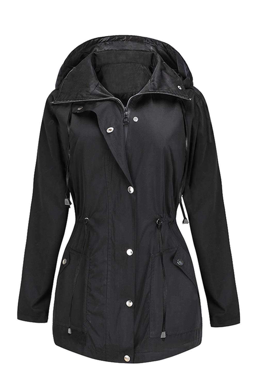 BBX Lephsnt Rain Jacket Women Waterproof with Hood Lightweight Raincoat Outdoor Windbreaker Black