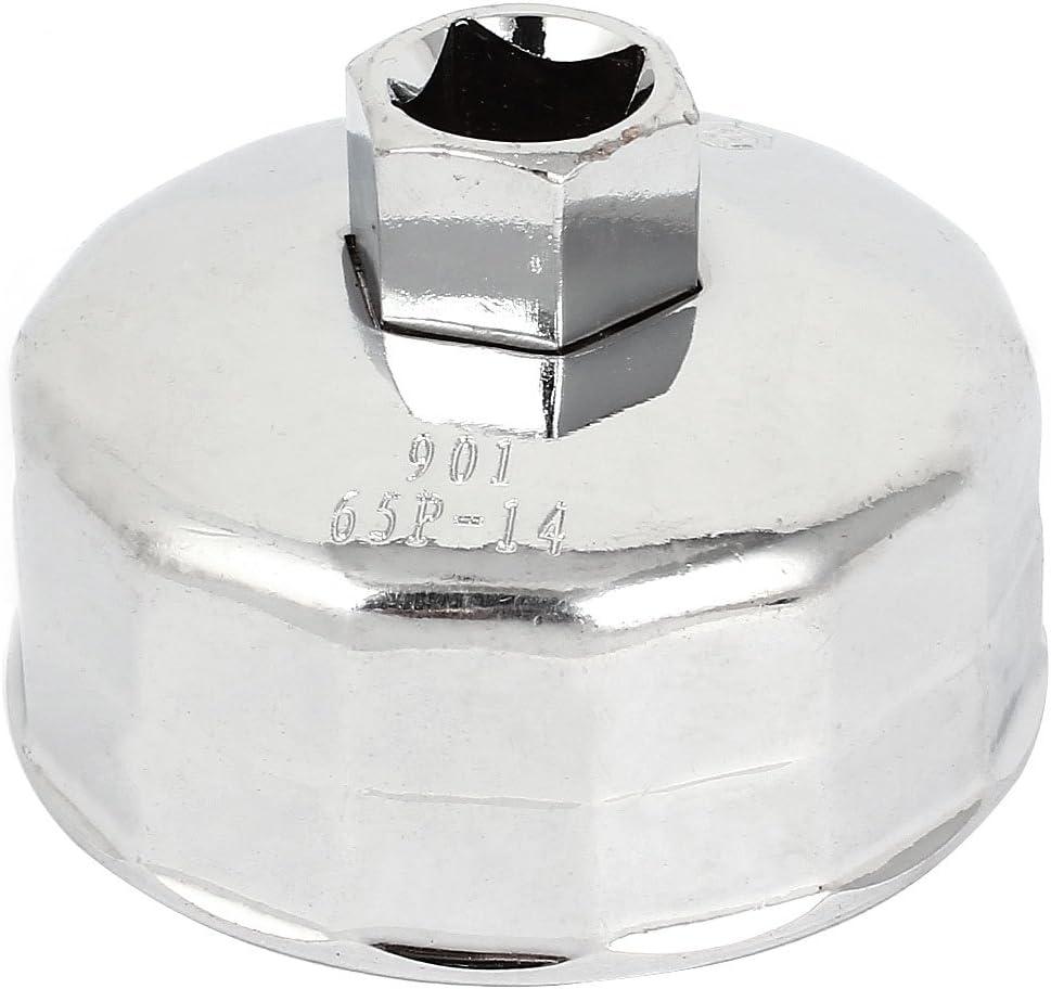 Sourcingmap 901 Llave de Filtro de Aceite 14 Estr/ías 64mm Dia Socket Forma Gorra