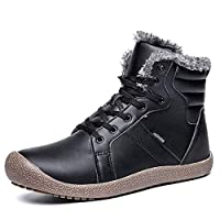 XIDISO Mens Womens Snow Boots Water Resistant Winter Boot Fully Fur Lined Anti-Slip Rubber Sole Indoor Outdoor Ankle Booties