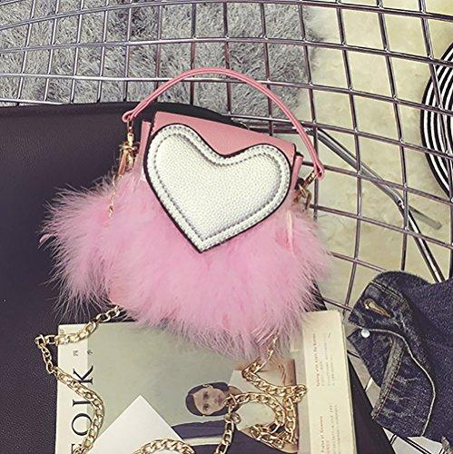 Fur Purse Furry Pink Bag Faux Zipper Women's Handbag QZUnique Clutch Shoulder EYOwx0nq