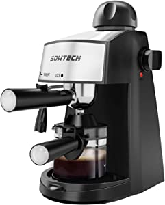 SOWTECH Espresso Machine, 3.5 Bar 4 Cup Steamer Coffee Maker Cappuccino Machine with Milk Frother Wand for Espresso, Cappuccino, and Latte Macchiato, Suitable for Home and Office Use