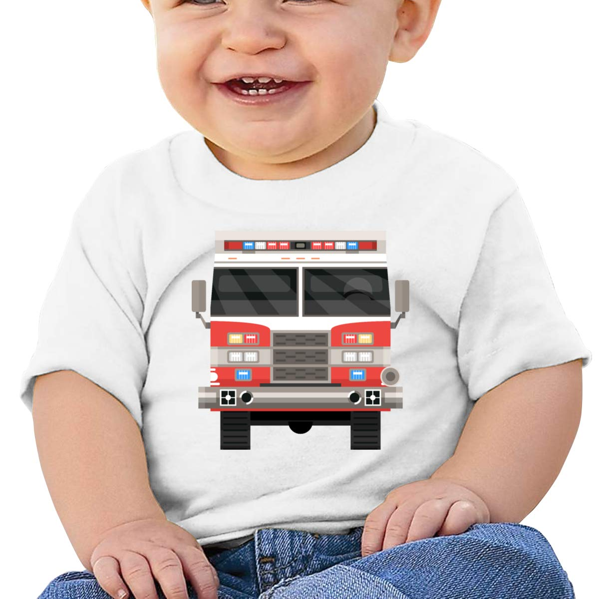 Qiop Nee Cartoon Firetruck 2 Short Sleeve Shirts Baby Girls