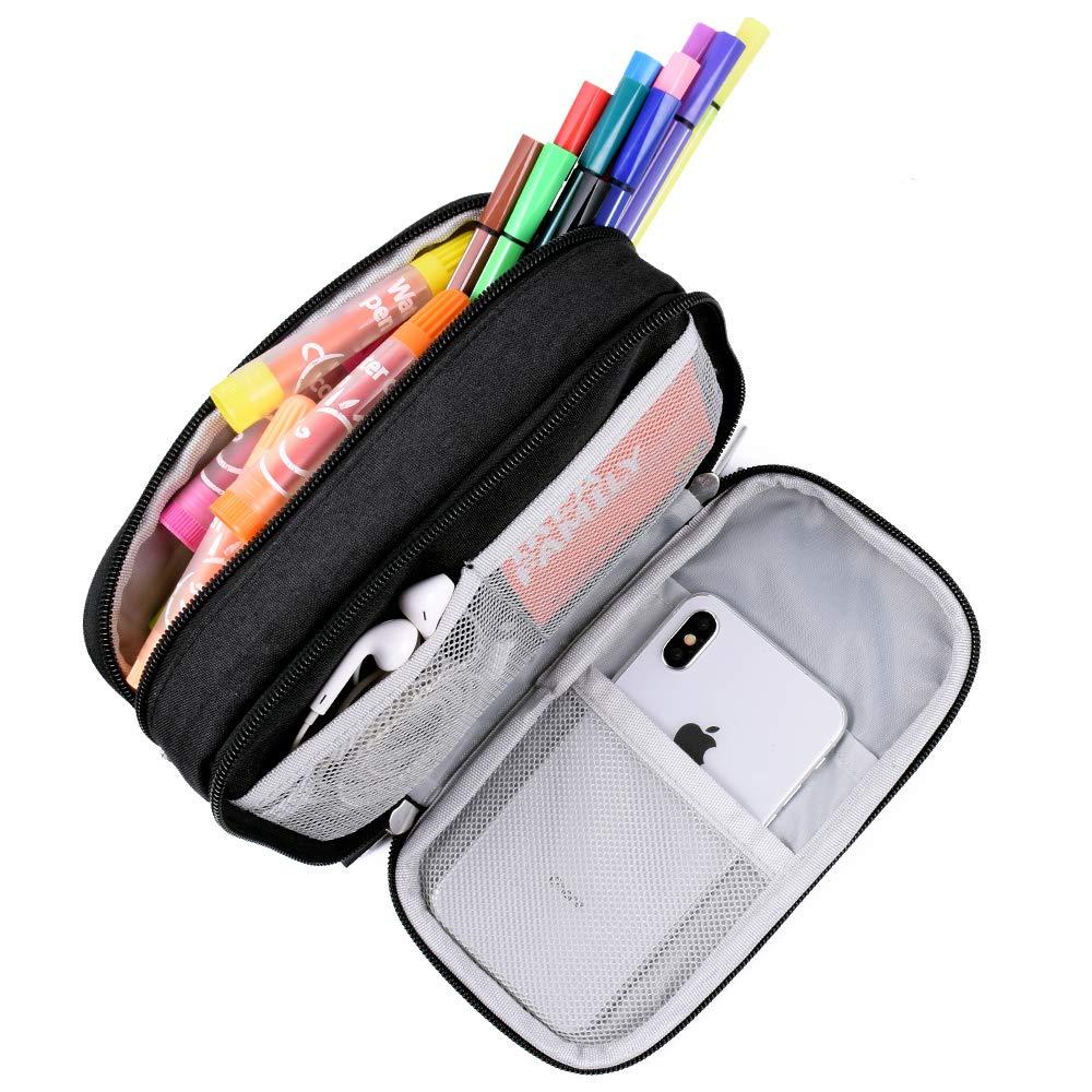 Estuche para l/ápices color negro estudiantes gran capacidad ni/ños ni/ñas y oficina estuche para l/ápices con grandes compartimentos para la escuela