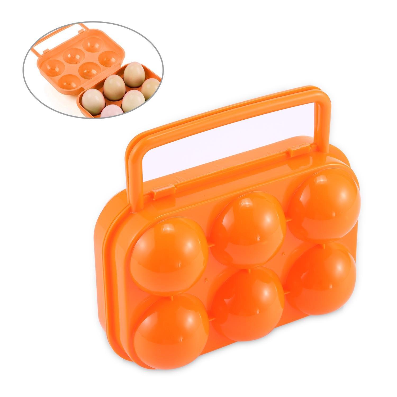 Aolvo Egg Holder Camping Portable 6 Eggs Slots Holder Camping Egg Carrier Egg Organizer For Traveling Hiking Camping
