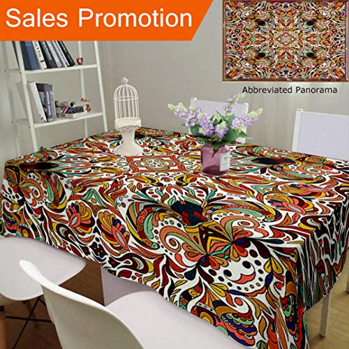 Unique Design Cotton And Linen Blend Tablecloth Batik Decor Floral Persian Lines Middle Eastern Bouquet Inspired Kitsch Bohemian Artsy Print MuCustom Tablecovers For Rectangle Tables, 78 x 54 Inches