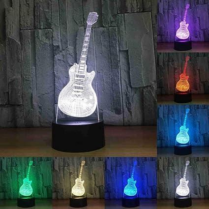 NSYW Guitarra Eléctrica Saxofón Piano 3D Lámpara Led Luz Nocturna Luz 3D Acrílico Lamparas Atmósfera Lámpara