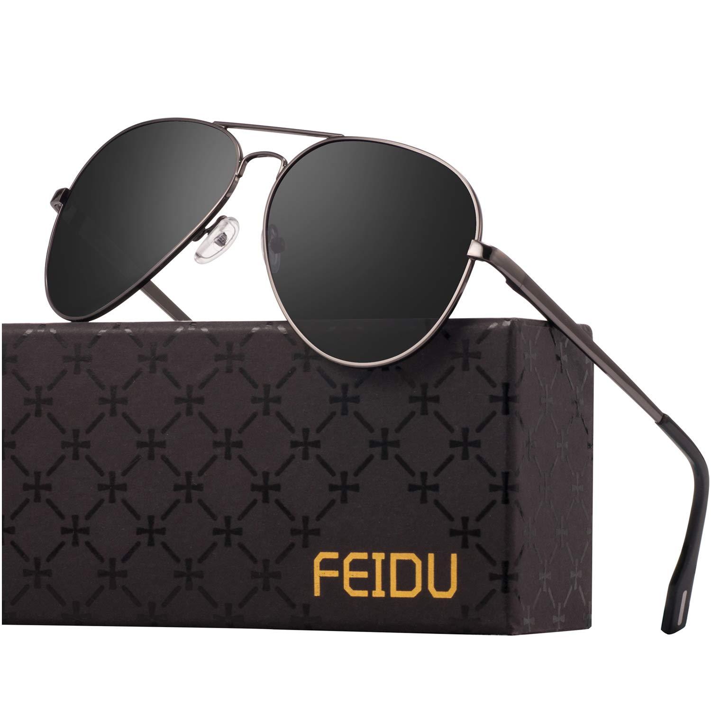 Polarized Sunglasses Aviator Sunglasses for Men - FEIDU Polarized Aviator Sunglasses for Men Sunglasses Man FD9007 (black-gun) by FEIDU