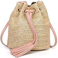 Women Straw Crossbody Handbag, Handle Handbag Summer Beach Purse Ladies Shoulder Bag (Pink)