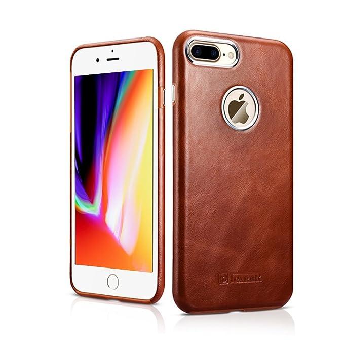 free shipping 2c3ec d3961 Amazon.com: iPhone 8 Plus Case,Genuine Leather Case Slim Back Cover ...