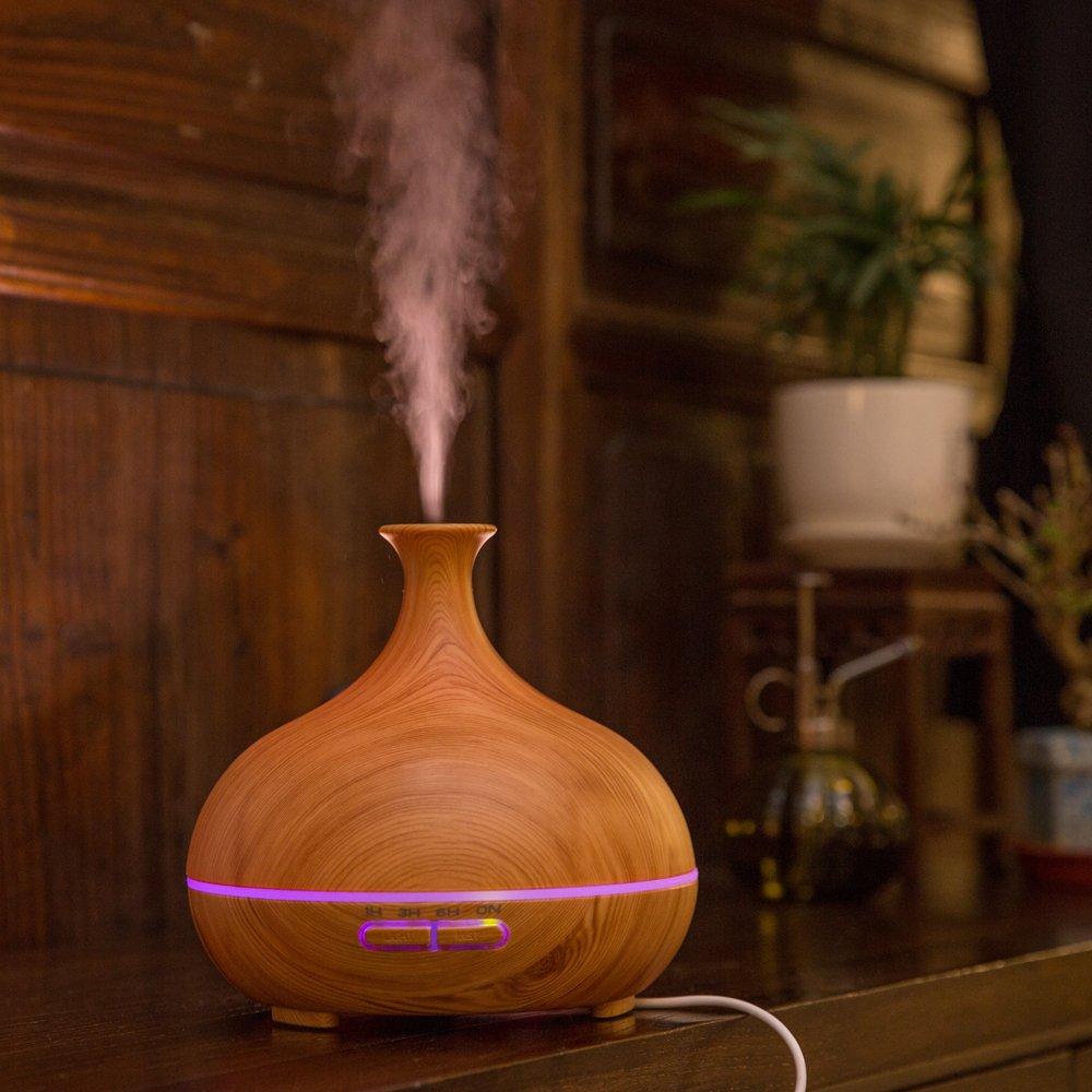 300ml Ultrasonic Cool Mist Humidifier, Aroma Essential Oil Diffuser, 3 Color Options, for Office Home Bedroom Living Room Study Yoga Spa (Wood Grain) by JUNHONG HOUSEHOLD (Image #5)