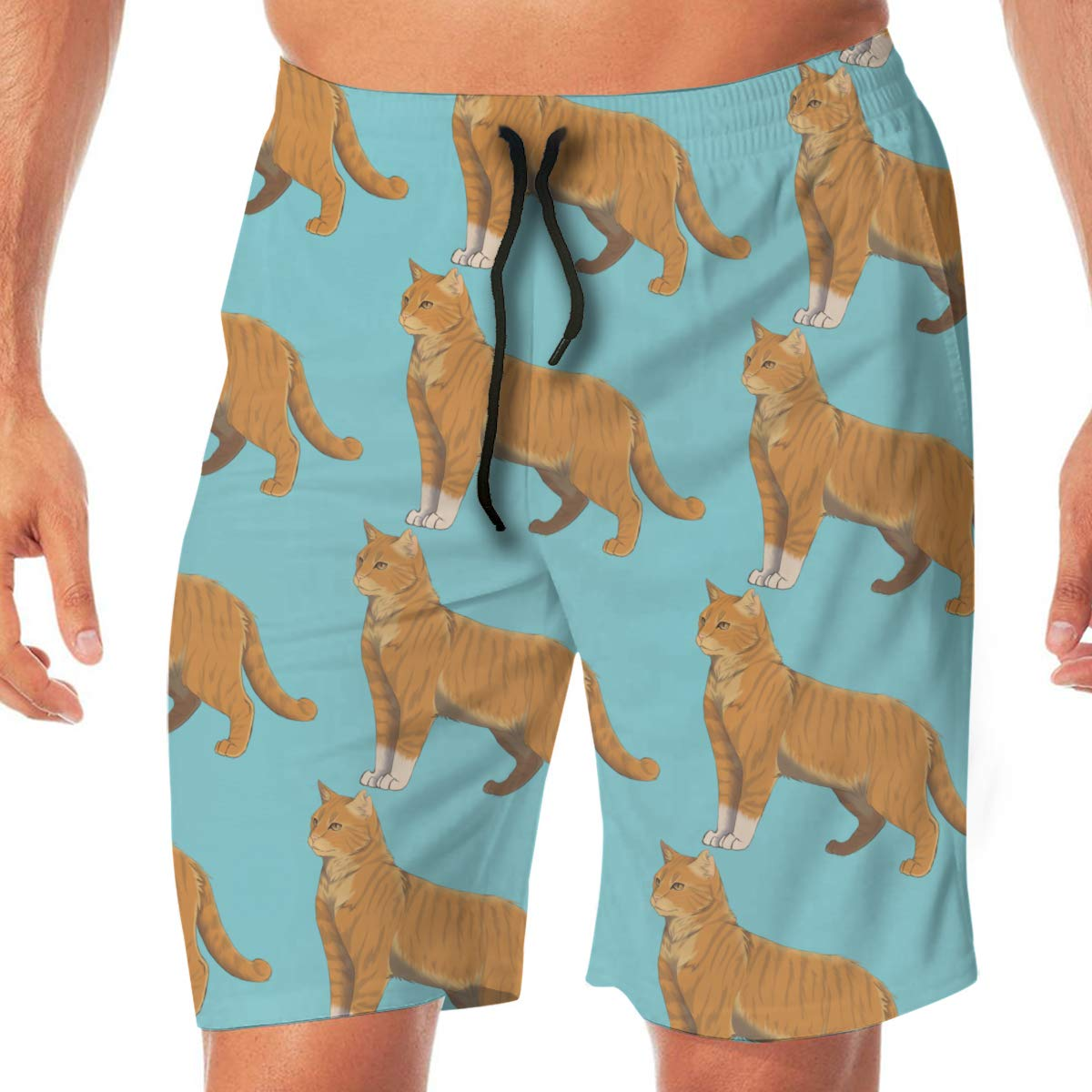 Woxianghe Mens Active Athletic Performance Shorts with Pockets Christmas Cat