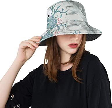 Underwater Cute Sharks Pattern Camping Hiking Fisherman Hat Sun Hat Unisex Leisure Sunscreen Bucket Hat.