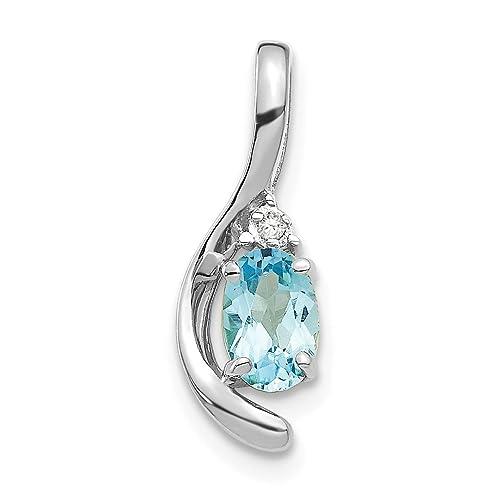 34aa37e5fd4f Hielo quilates 14 K blanco oro azul topacio Diamante Colgante Encanto Collar  Gema piedra Natal de