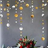 Gold Silver Star and Circle Dot Garland Decorations Metallic Glitter Circle Garlands Streamer Backdrop Glittery Hanging…