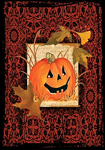Toland Home Garden Gothic Pumpkin 12.5 x 18 Inch Decorative Rustic Fall Autumn Halloween Jack-o-Lantern Garden Flag