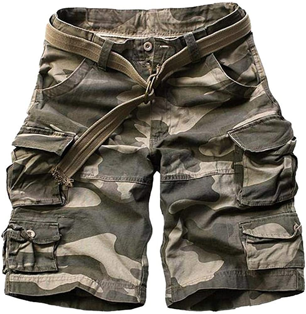 MUST WAY Mens Loose Multi-Pocket Twill Ripstop Cargo Short Chino Cargo Casual Shorts with 9 Pockets