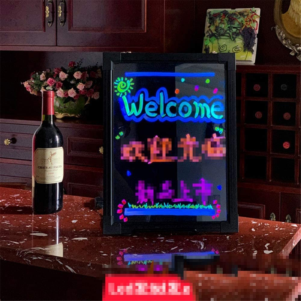LED Writing Message Board LED Message Writing Board Flashing Illuminated Erasable Neon Sign for Shop Cafe Bar Glowing erasable Restaurant menu Sign Color : Black, Size : 30x40cm
