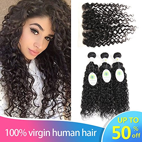 Peruvian Water Wave 3 Bundles with Frontal 13x4 Free Part Lace Frontal Virgin Human Hair Bundles Curly Hair Extensions Natural Color (14 16 18 with 12)