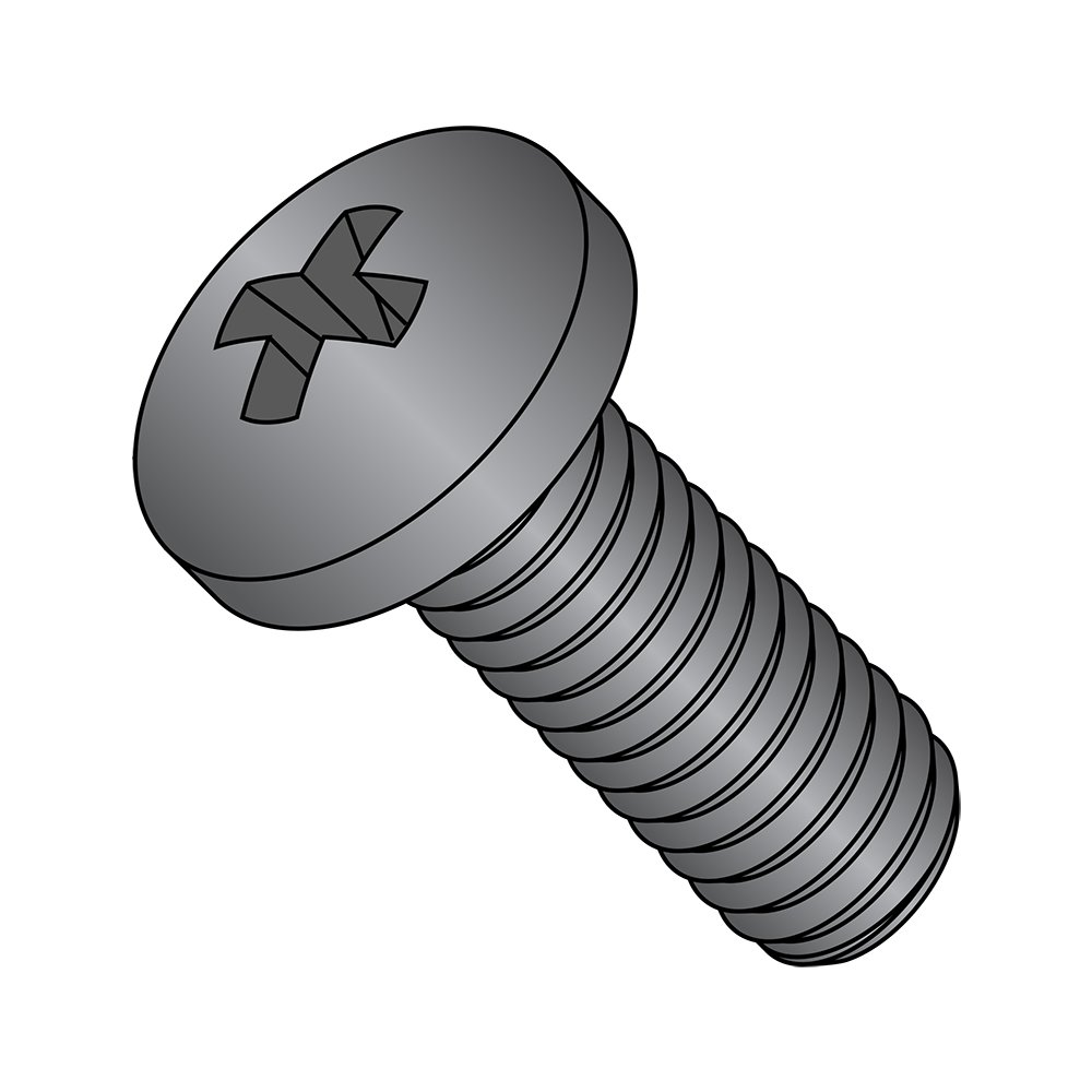 Fully Threaded Black Oxide Finish Steel Pan Head Machine Screw #1 Phillips Drive M2-0.4 Thread Size Meets DIN 7985 Pack of 100 Import 10 mm Length