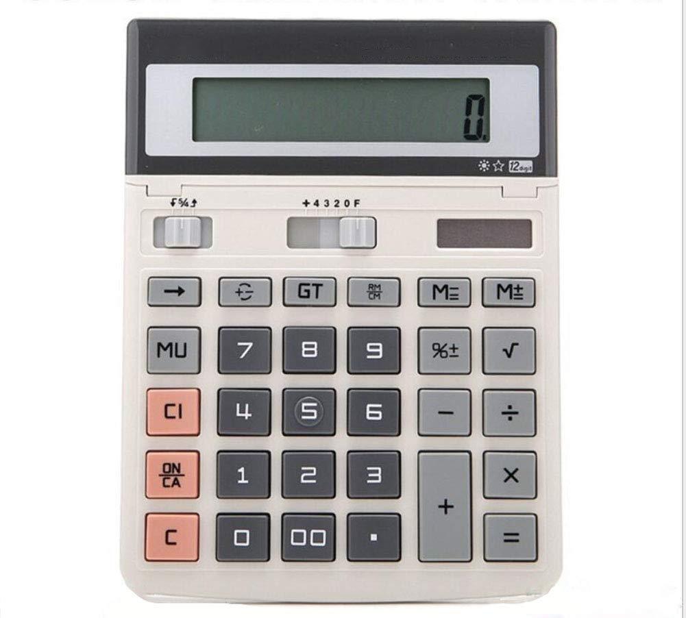 CalculatorSolar Calculator Dual Power Supply 12-Digit Display LED Large Screen  Plastic Button Business Office (gray2)