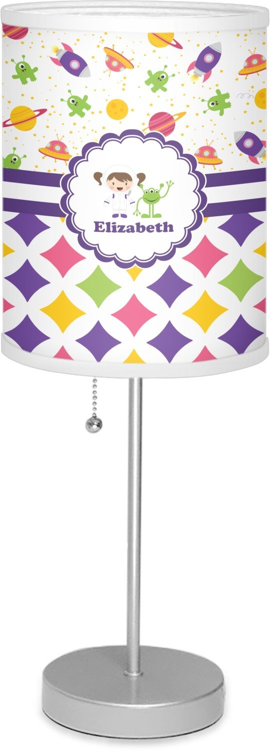 RNK Shops Girl's Space & Geometric Print 7'' Drum Lamp with Shade Linen (Personalized)