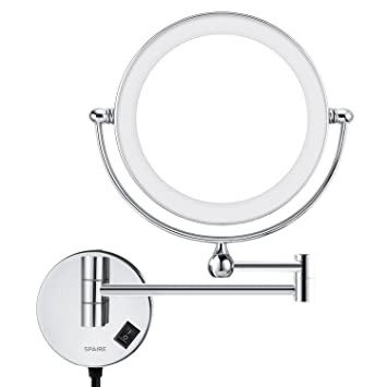 Spaire Bathroom Mirror 5X 1X Magnifying LED Lighted 7 Inch Double Sided Wall Mount