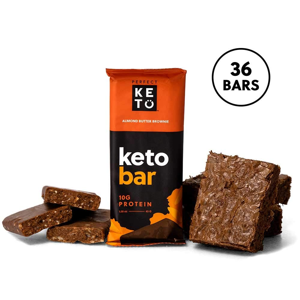 Perfect Keto Protein Snacks - 3 Boxes, 36 Bars - Low Carb Diet Friendly with Coconut Oil, Collagen, No Added Sugar - Sweet Treat in Almond Butter Brownie Flavor - Individual Packs for Travel, Hiking