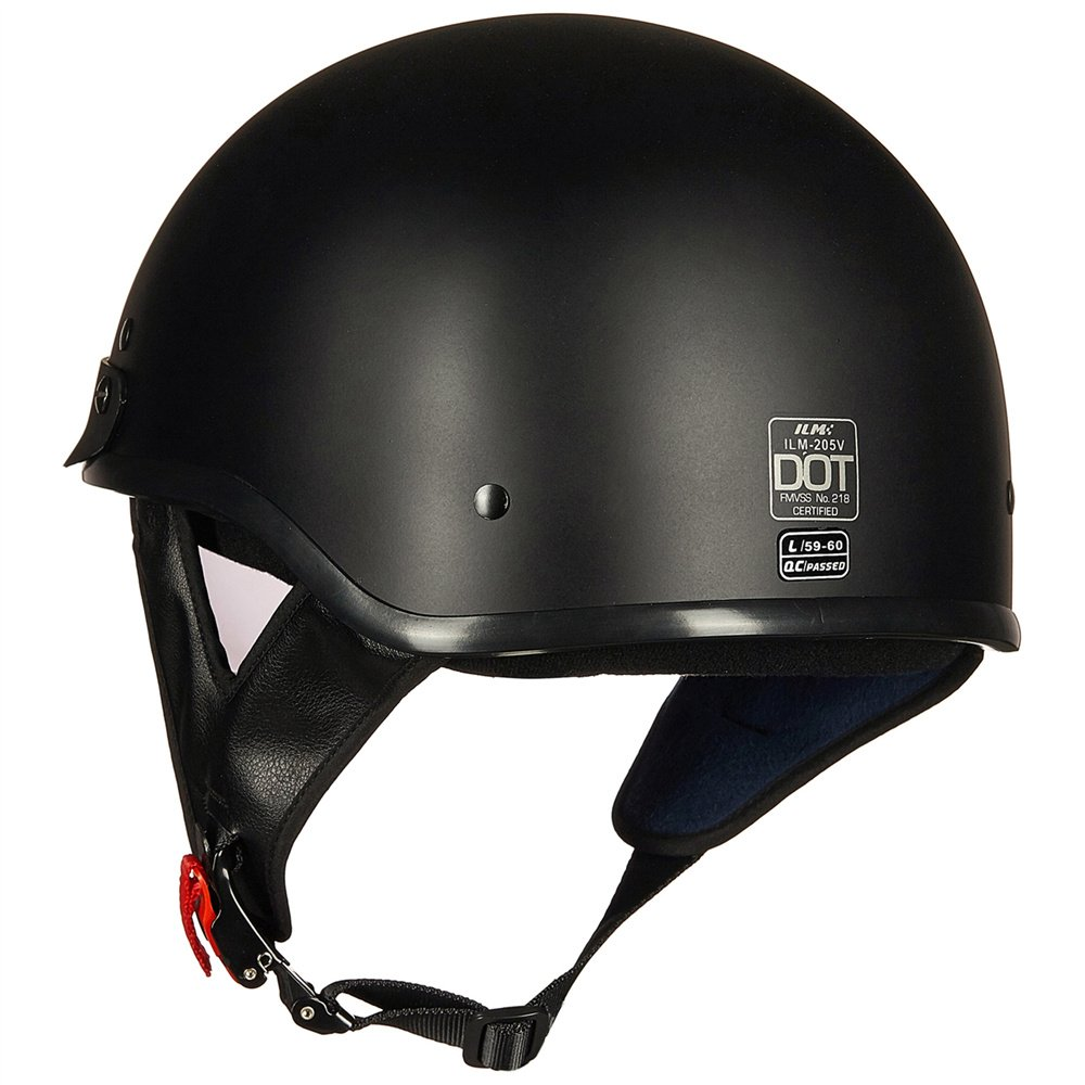Upgraded ILM Motorcycle Half Helmet With Integrated Sun Visor Quick Release Buckle DOT Approved (M, MATT BLACK) by ILM (Image #4)