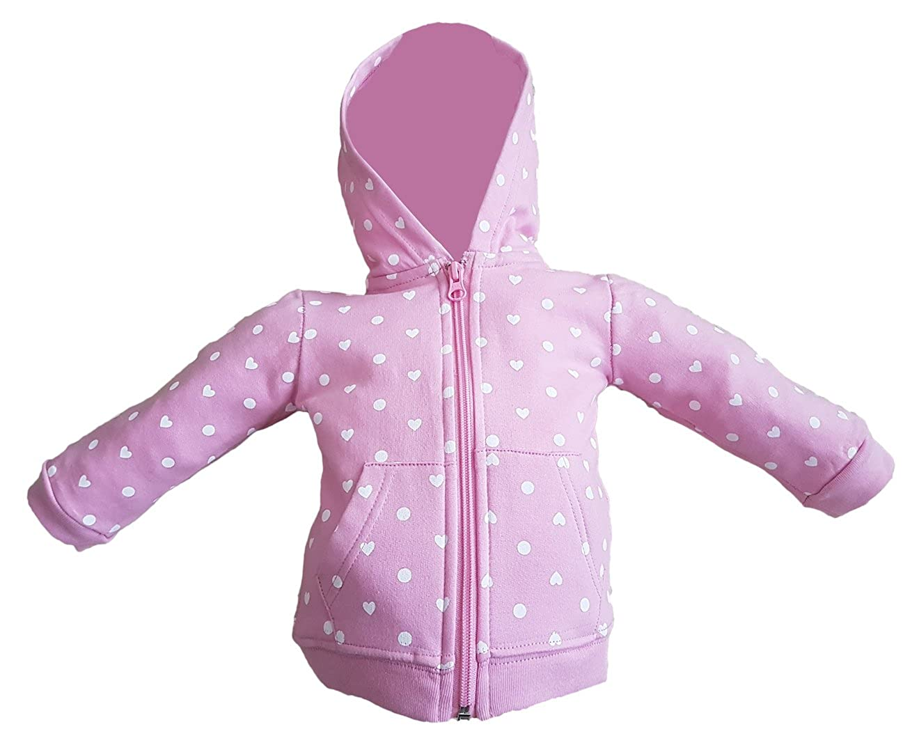 Girls Pink Hoody with Hearts and Circles. Made from 100% Cotton and Perfect for Everyday