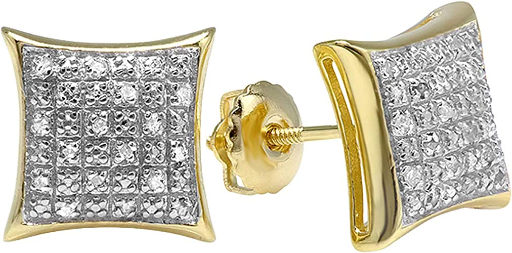 18K Yellow Gold Plated Sterling Silver Round Diamond Square Shape Mens Stud Earrings ctw 0.10 Carat
