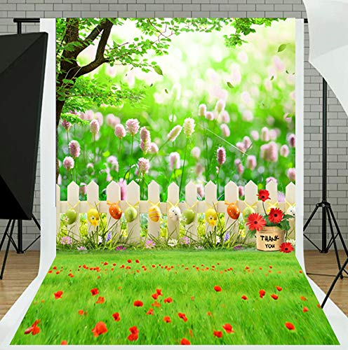 TMOTN 5x7ft Easter Photography Backdrop Spring Background Easter Eggs Flowers Backdrop Party Sunny Blue Sky Background Studio Props D2024]()