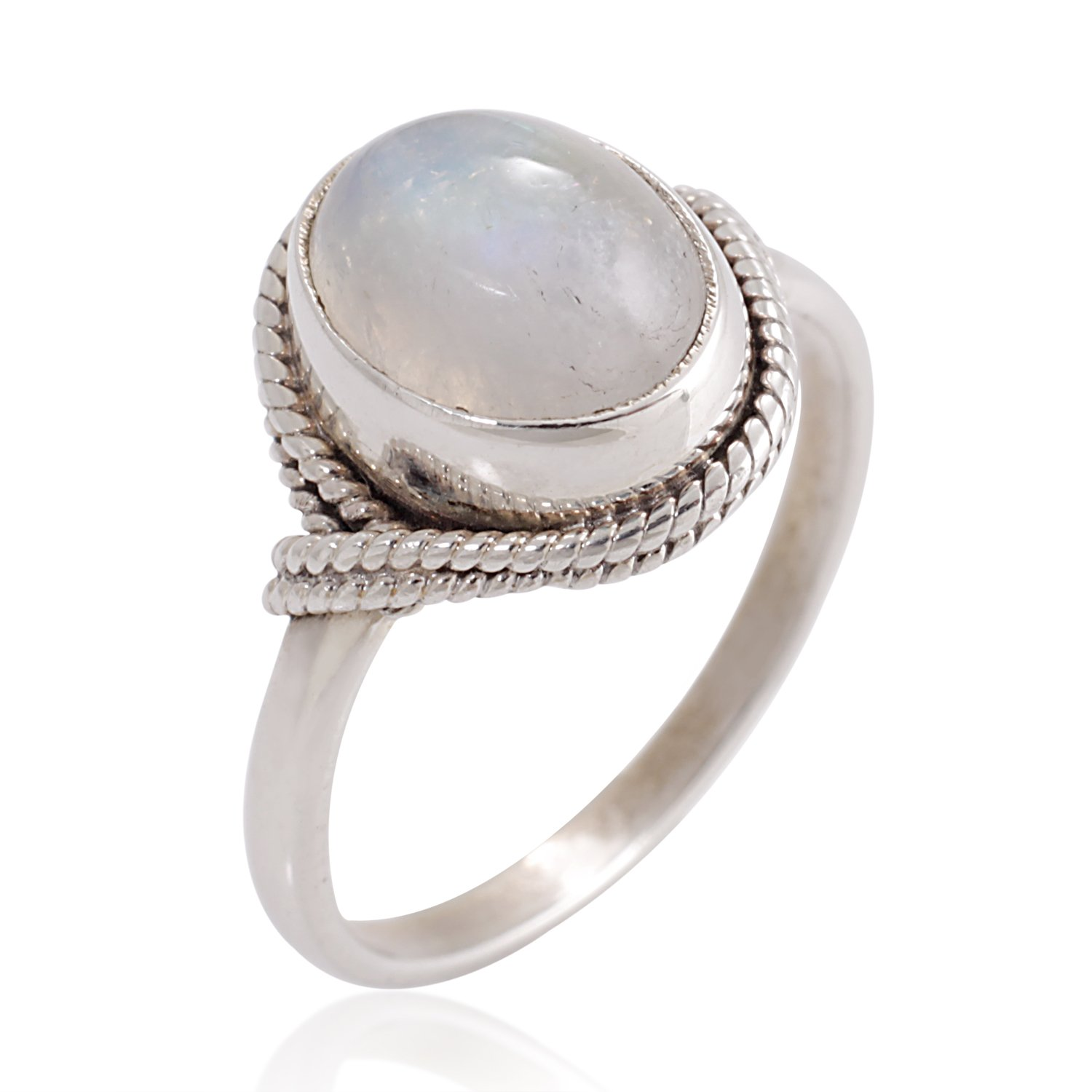 Chuvora 925 Sterling Silver White Moonstone Gemstone Oval Rope Edge Vintage Band Ring Size 7