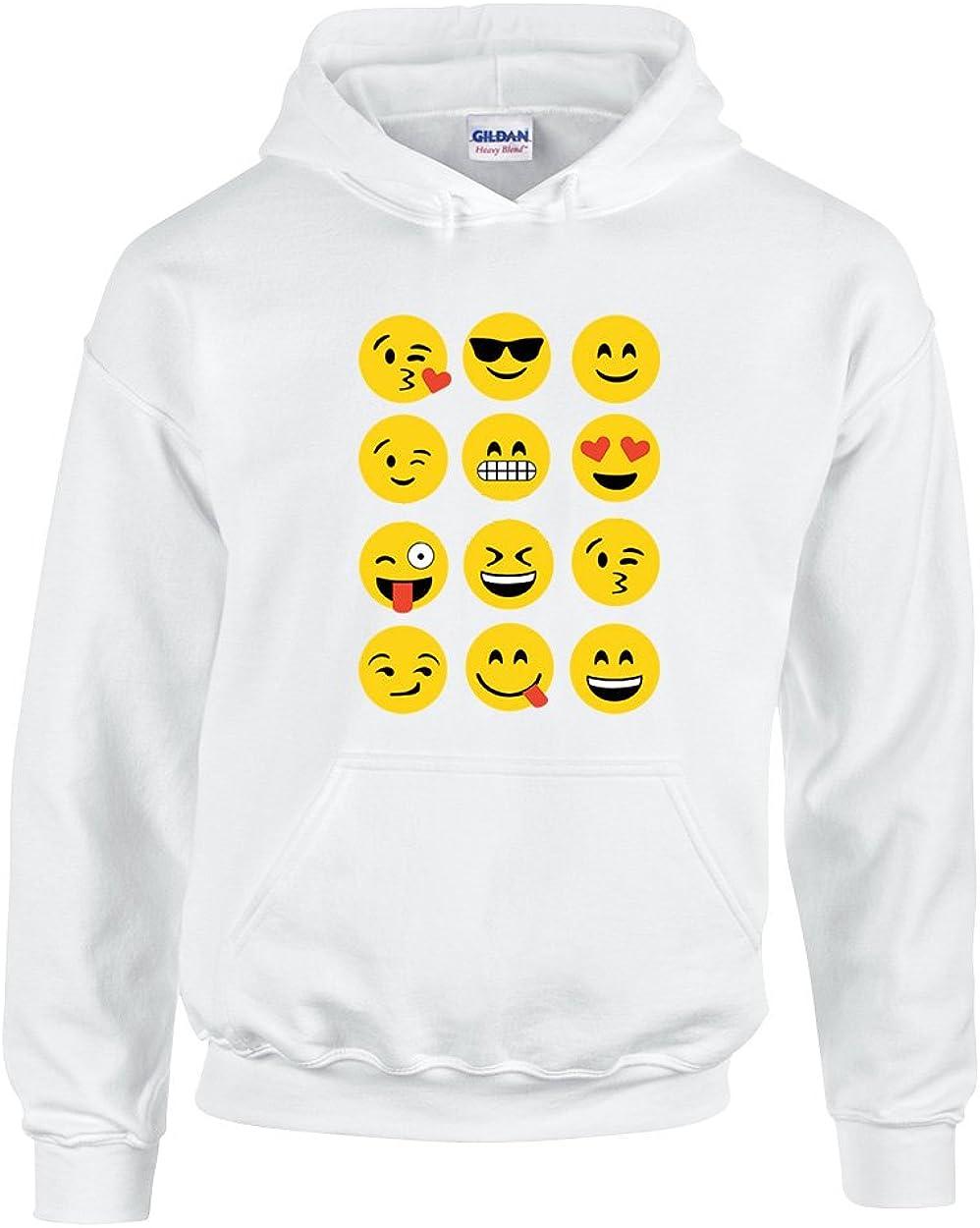 Most Popular Emoji Faces Cool Smile Heart Love Unisex Pullover Hoodie Sweatshirt
