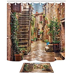 NYMB Tuscan Decor Collection Landscape of Tuscany Mildew Resistant Polyester Fabric Shower Curtain 69X70in Suit With 40x60cm Flannel Non-Slip Floor Mat Bath Rugs (Multi26)
