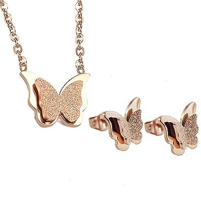 a23816f80 YOUNICE 18k Rose Gold Butterfly Jewelry Set Necklace Stud Earrings for  Women Girl (Butterfly Set