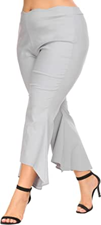 IN'VOLAND Women Plus Size High Waist Relaxed Fit Stretch Irregular Bell Bottom Casual Pants