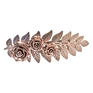 028d370ed Amazon.com : Rose gold color hair clips Fern Hair Clips Rose Bridal  Barrette Large fern and Roses For Thick Hair Angelina Verbuni : Beauty