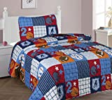 The Liquidator Goods Collections Multicolor Blue White Orange Brown Sports Basketball Football Baseball Soccer Quilt Set/Bedspread for Boys/Kids/Teens (Twin 2PC Quilt Set)